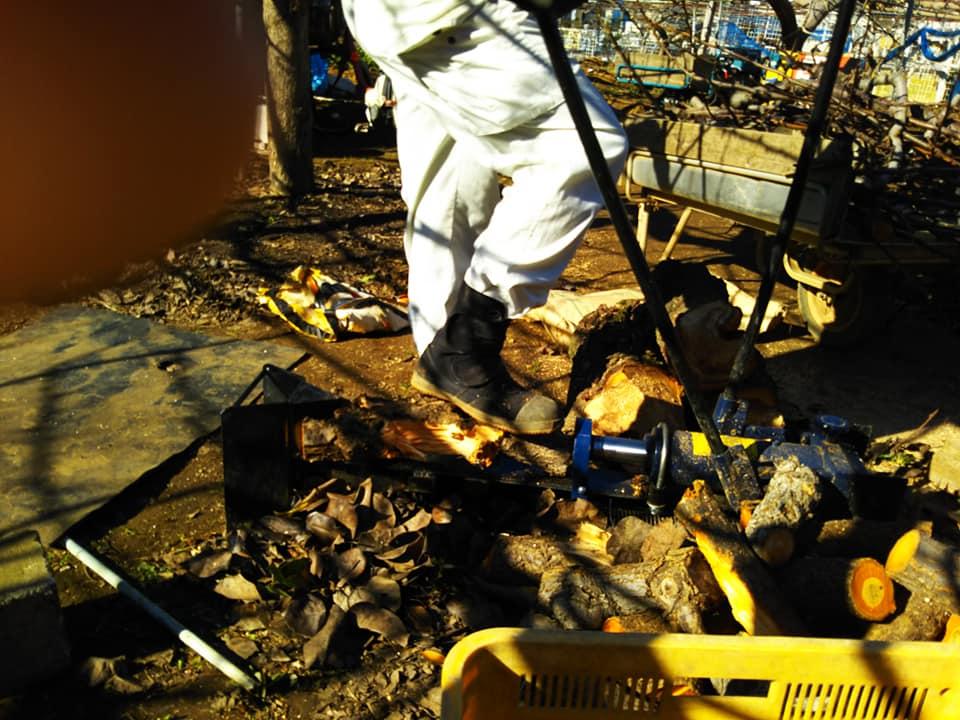 薪割り機の使い方を教わる